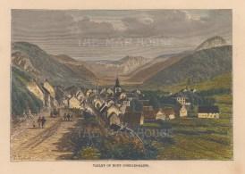 """Taylor: Mont Dore-Les-Bains. c1880. A hand coloured original antique wood engraving. 8"""" x 6"""". [FRp1368]"""