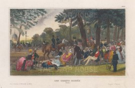 """Meyer: Champs Elysees. 1839. A hand coloured original antique steel engraving. 6"""" x 4"""". [FRp1629]"""