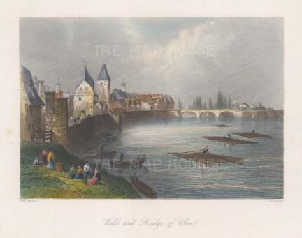"Beattie: Ulm. 1844. A hand coloured original antique steel engraving. 8"" x 6"". [GERp1203]"