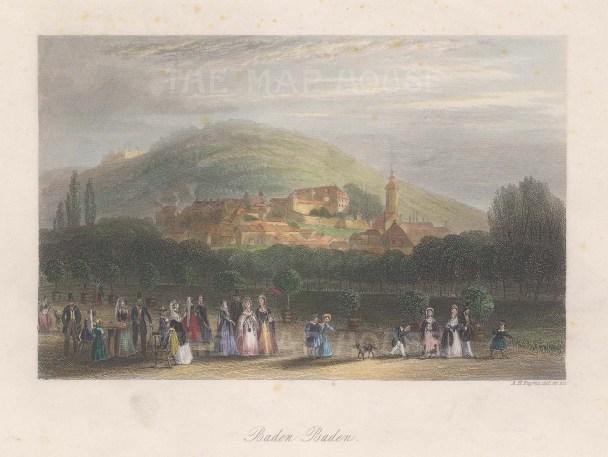 "Payne: Baden Baden. c1848. A hand coloured original antique steel engraving. 7"" x 5"". [GERp1234]"