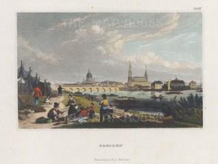 "Meyer: Dresden. c1840. A hand coloured original antique steel engraving. 7"" x 5"". [GERp1235]"