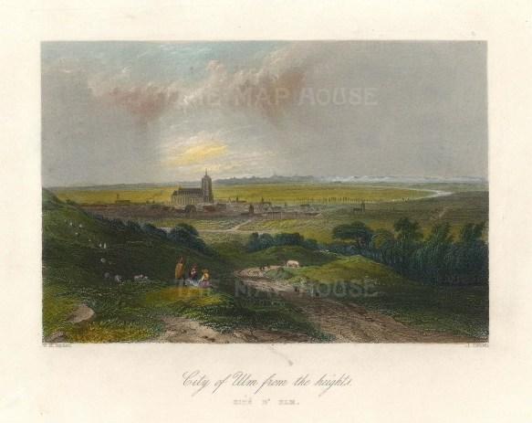 "Beattie: Ulm. 1844. A hand coloured original antique steel engraving. 8"" x 6"". [GERp1263]"