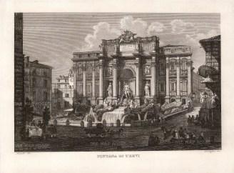 Cottafavi: Trevi Fountain. c1873. An original antique etching. 11″ x 8″. [ITp2033]