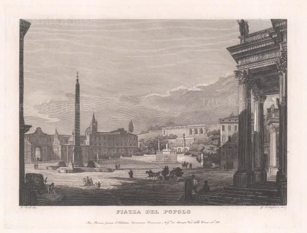 "Cottafavi: Piazza del Popolo. 1843. An original antique etching. 11"" x 8"". [ITp2041]"