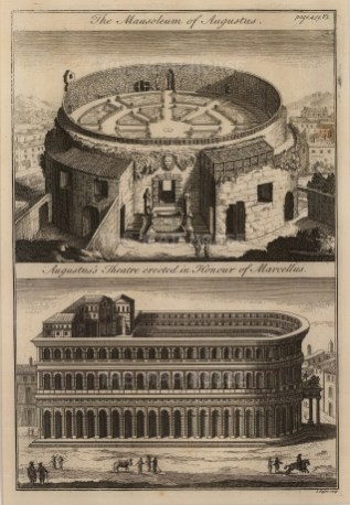 Double view of the Mausoleum of Augustus and the Theatre of Marcellus.