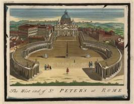 Moll: St Peter's Basilica. 1745. A hand coloured original antique copper engraving. 10″ x 8″. [ITp2140]