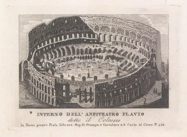 Piale: Colosseum. 1839. An original antique etching. 5″ x 4″. [ITp2267]