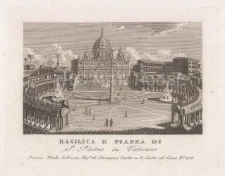 Piale: St Peter's Basilica. 1839. An original antique etching. 5″ x 4″. [ITp2268]