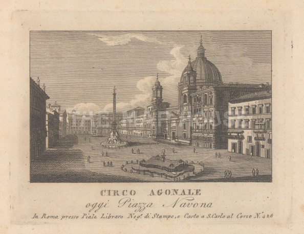 (Circo Agnale). With the Fontana dei Quattro Fiumi, Obelisk of Domitian, Sant'Agnese in Agone, and Palazzo Pamphili.