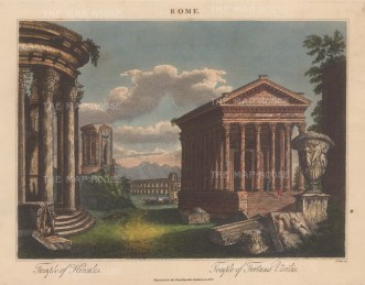 Temple of Herucles and Temple of Fortuna Viirilis. Engraved by John Pass.