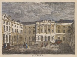 """Old & New: Guy's Hospital. c1880. A hand coloured original antique wood engraving. 6"""" x 4"""". [LDNp10007]"""