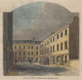 """Illustrated London News: Downing Street. 1846. A hand coloured original antique wood engraving. 6"""" x 6"""". [LDNp10021]"""