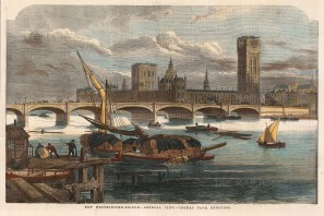 With Victoria Tower and Big Ben under construction following the fire of 1834 which destroyed most of the Old Palace of Westminster.