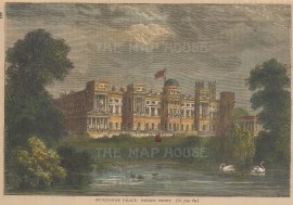 """Old & New: Buckingham Palace. c1880. A hand coloured original antique wood engraving. 6"""" x 4"""". [LDNp10265]"""