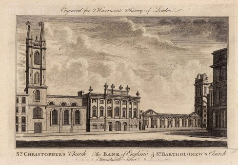 Bank of England, St. Christopher's and St. Bartholomew's Churches.