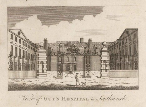 Guy's Hospital in Southwark. Elevation of the front.