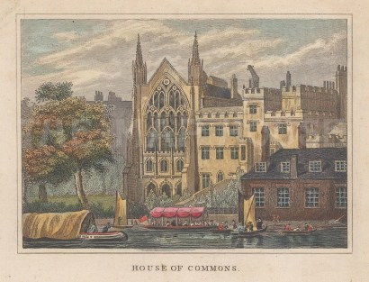 """Dugdale: House of Commons. 1829. A hand coloured original antique steel engraving. 4"""" x 3"""". [LDNp10339]"""