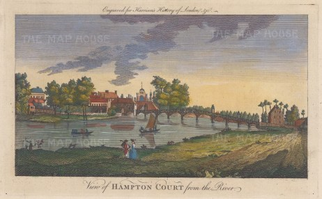 """Harrison: Hampton Court Palace. 1775. A hand coloured original antique copper engraving. 14"""" x 7"""". [LDNp10350]"""