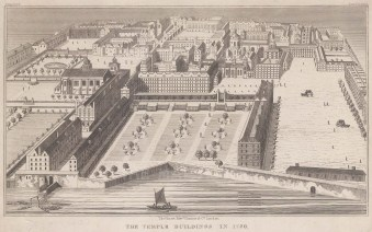 "Hurst, Chance & Co.: Temple. c1830. An original antique steel engraving. 6"" x 5"". [LDNp10417]"