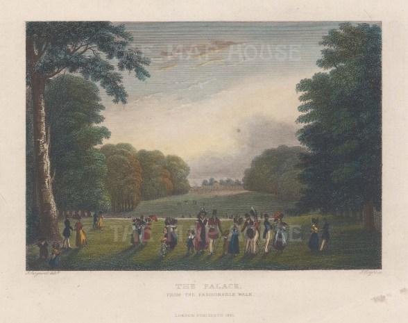 "Rogers: Kensington Palace. 1831. A hand coloured original antique steel engraving. 6"" x 4"". [LDNp10435]"