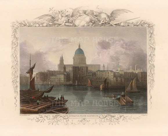 """Tombleson: St Paul's Cathedral. c1845. A hand coloured original antique steel engraving. 8"""" x 7"""". [LDNp10455]"""