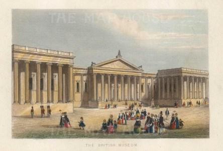 "Tallis: British Museum. 1851. A hand coloured original antique steel engraving. 6"" x 4"". [LDNp10457]"