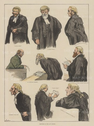 Nine portraits of barristers' stances.