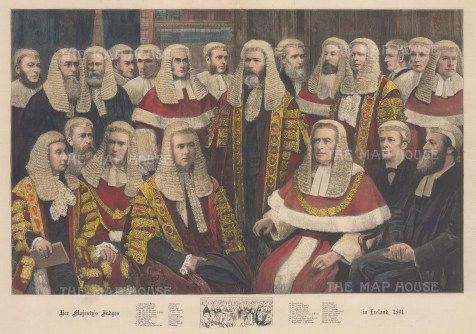 Her Majesty's Judges in Ireland, 1891. Showing leading judges from all three divisions of the High Court.