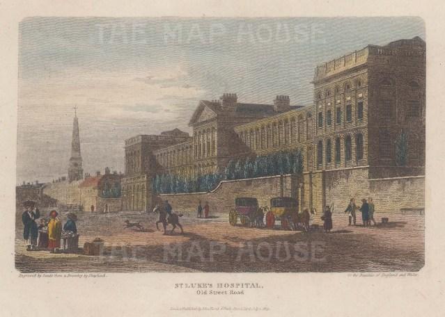 View on Old Street of the psychiatrist William Battie's new hospital for mental illness.