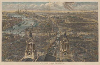 Bird's Eye View: From the tower of St. Paul's looking Westward. After Sir John Sulman.