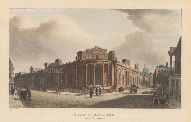 "Papworth: Bank of England. 1816. An original colour antique aquatint. 8"" x 6"". [LDNp4686]"