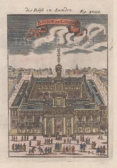 "Mallet: Royal Exchange. 1686. A hand coloured original antique copper engraving. 5"" x 7"". [LDNp5863]"