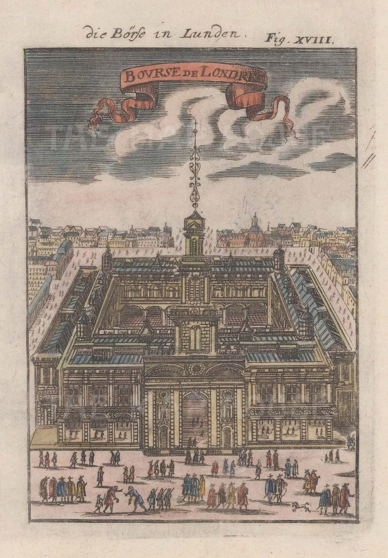 "Mallet: Royal Exchange. 1686. A hand coloured original antique copper engraving. 5"" x 7"". [LDNp5863]"