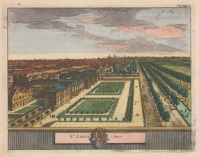 St. James's. Bird's eye view over St. James's Palace and Pall Mall looking East to the City.