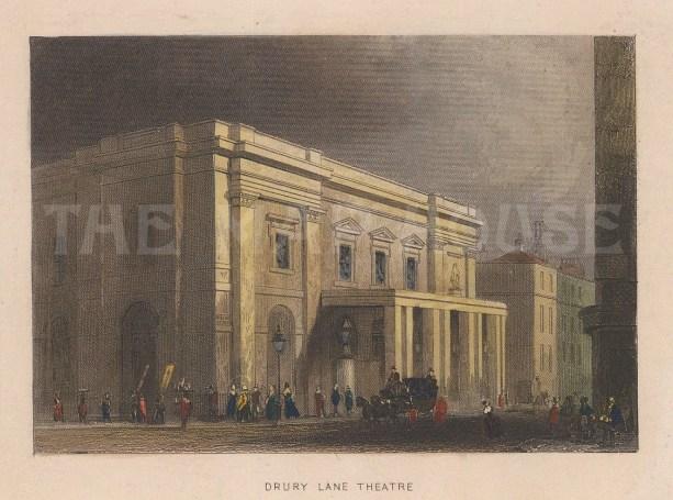 "Tallis: Drury Lane Theatre. 1851. A hand coloured original antique steel engraving. 4"" x 3"". [LDNp7538]"