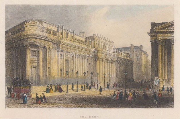 "Tallis: Bank. 1851. A hand coloured original antique steel engraving. 6"" x 4"". [LDNp8776]"