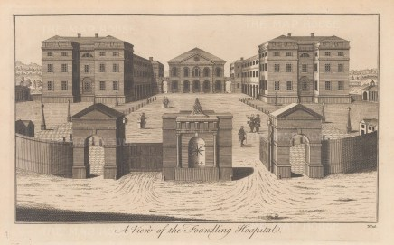 Exterior view of the new hospital built in 1742.