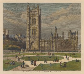 View of Victoria Gardens towards Victoria Tower.