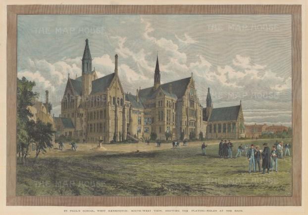 "Illustrated London News: St Paul's School. c1894. A hand coloured original antique wood engraving. 20"" x 14"". [LDNp9824]"
