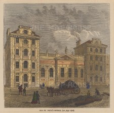 """Old & New: St Paul's School. c1880. A hand coloured original antique wood engraving. 6"""" x 4"""". LDNp9826]"""