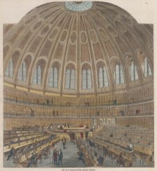 View of the Reading Room in the Atrium of the British Museum.