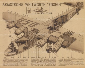 """Flying Magazine: Armstrong Whitworth Ensign. 1939. An original vintage lithograph. 12"""" x 10"""". [AVIp2]"""