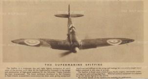 "Flying Magazine: Supermarine Spitfire. 1938. An original vintage photo-lithograph. 10"" x 5"". [AVIp42]"