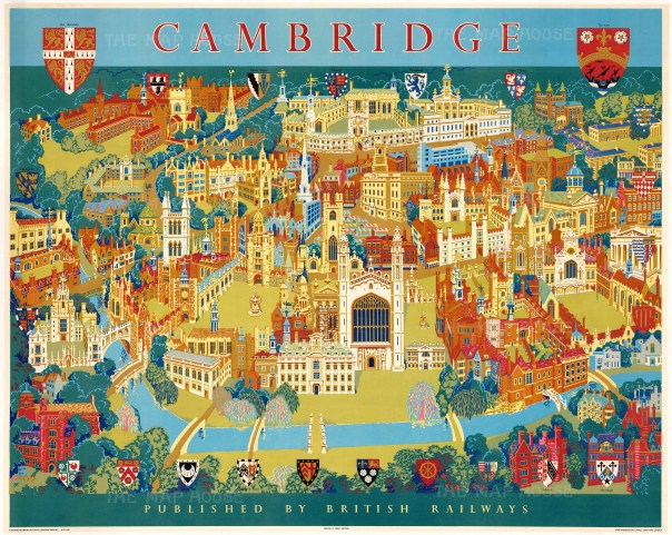 Vintage poster featuring a pictorial bird's-eye view of Cambridge. Published by British Railways to promote the city to tourists.