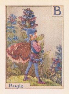 "Barker: Bugle Fairy. c1938. An original vintage chromolithograph. 3"" x 4"". [DECp1965]"