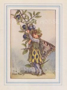 "Barker: Sloe Fairy. 1927. An original vintage chromolithograph. 3"" x 4"". [DECp2178]"