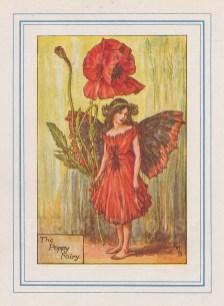 "Barker: Poppy Fairy. c1925. An original vintage chromolithograph. 3"" x 4"". [DECp2209]"