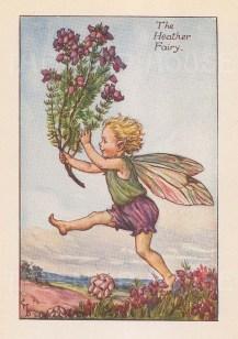 "Barker: Heather Fairy. 1925. An original vintage chromolithograph. 3"" x 4"". [DECp2211]"