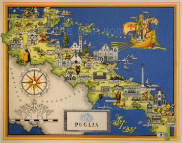 It 3399 c1939 de Agostini 5 x 4 Charming pictorial map postcard of Puglia. Reduced from the larger 1939 Artistic Edition of Giovanni De Agostini's 'Imago Italiae', illustrated by Russian artist Vsevolod Petrovic Nicouline. Printed colour