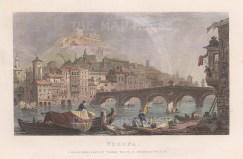 "Kelly: Verona. c1840. A hand coloured original antique steel engraving. 8"" x 6"". [ITp1914]"